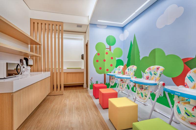 Espaço família para cuidados com os bebes trazendo microondas e kits para higienização